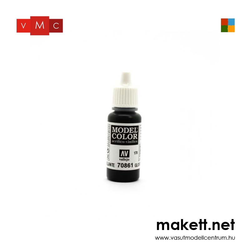 Vallejo 70861 Glossy Black - 17 ml (Model Color) (170)
